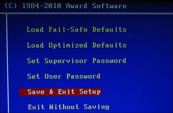 сохранение настроек BIOS