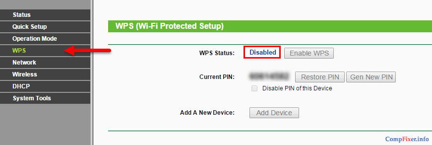 WPS Disabled