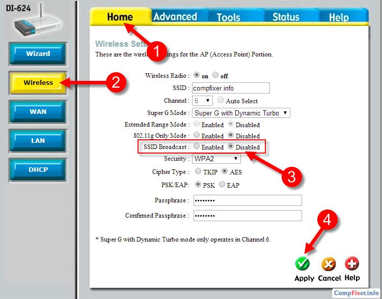 Отключение вещания SSID на DI-624
