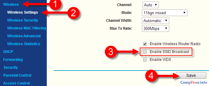 скрыть wi-fi сеть на роутере TP-Link