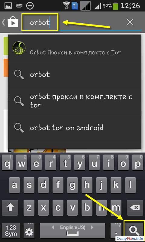 Поиск Orbot в Play Маркете
