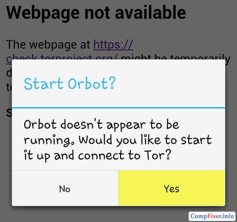 Предложение запустить Orbot для работы Orweb