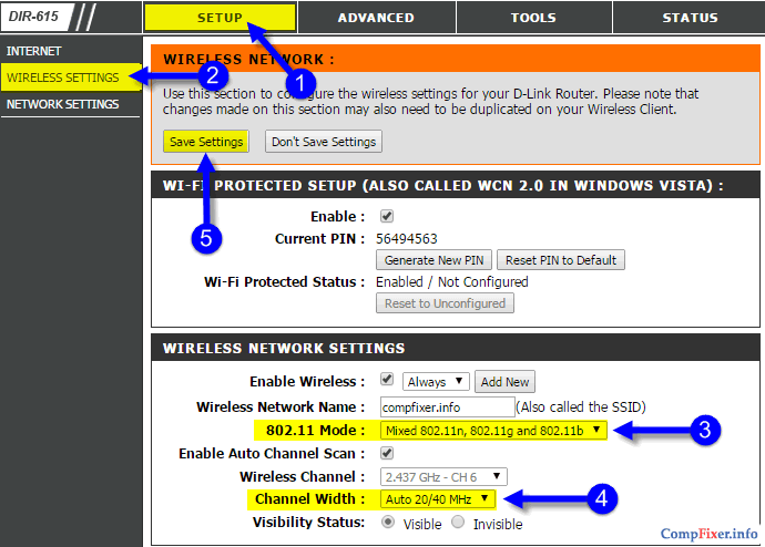 Настройка режима Wi-Fi и ширины канала на роутере D-Link
