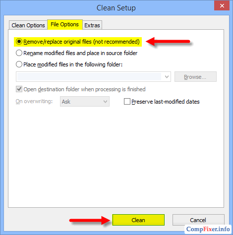 ExifCleaner: перезаписывать исходные файлы