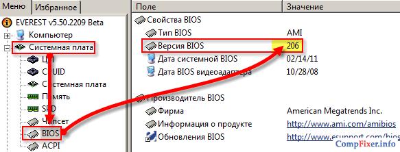 Выяснение версии BIOS
