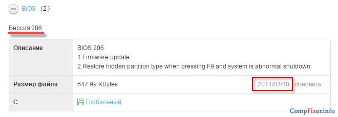 Уточнение даты выпуска BIOS