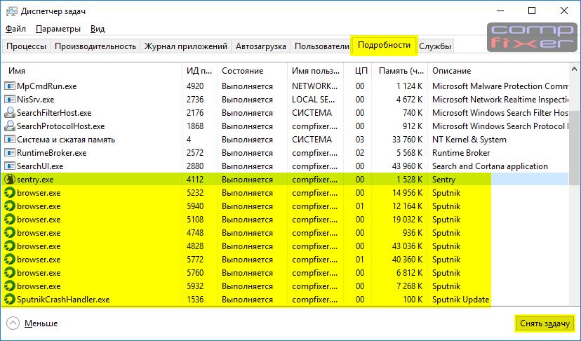 процессы sputnik.exe и sentry.exe