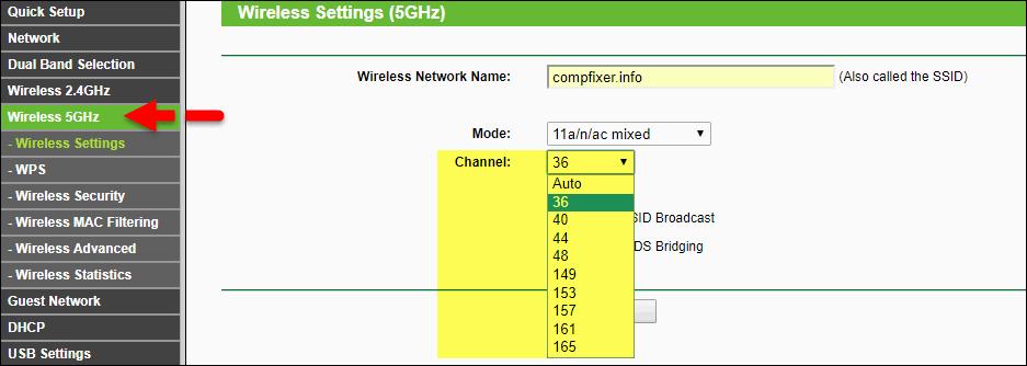 выбор канала Wi-Fi 5 ГГц США