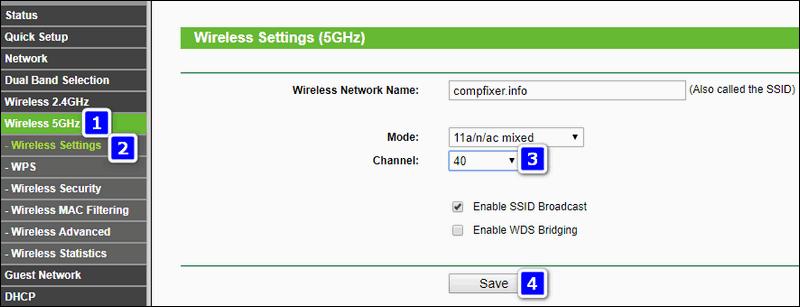 выбор канала Wi-Fi 5 ГГц TP-Link с зеленым интерфейсом