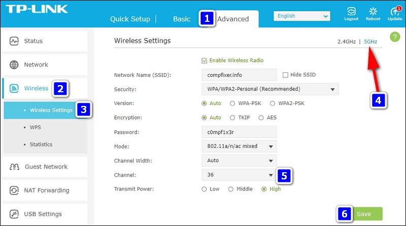 роутер TP-Link выбор канала 5 ГГц